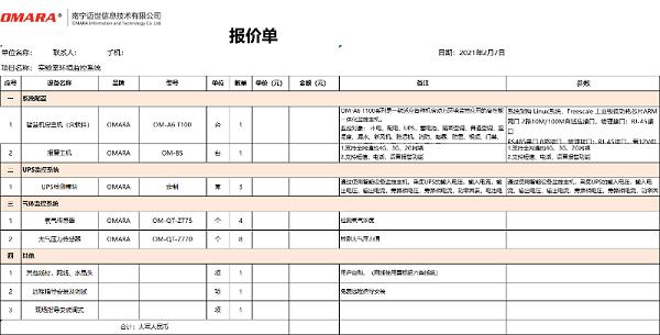实验室环境监控系统配置清单